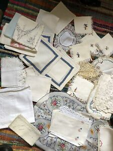 1kg Joblot Vintage Lace Embroidery Cross Stitch Craft Crafting Hankies Cotton
