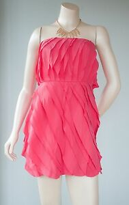 c324993a61b9 Adam by Adam Lippes Womens Size 6 Pink Raw Edge Short Silk Ruffle ...