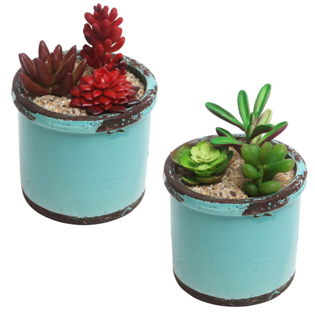 225 & Rustic Style Ceramic Succulent Planters Small Round Flower Pots Set of 2 Teal