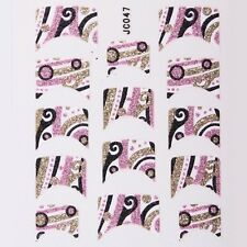 Nail Art Decal Stickers Glitter Nail Tips Pink Black Gold Swirls Dots JC047