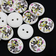 25 Round Wooden Little Monkey design Buttons 15mm Sewing Scrapbook Free P&P