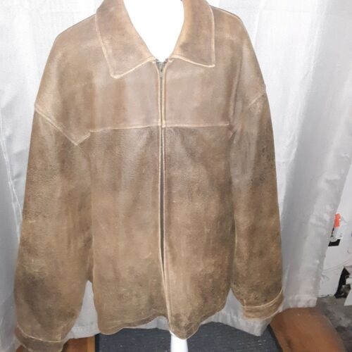 Mens EXCELLED Leather Jacket Size 3XL Brown