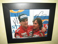 Ayrton Senna and Alain Prost Signed Photo Repro-Print (8x10) in a lovely frame