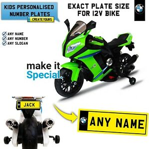Details About Ride On Motorbike Personalised Number Plate For Kid Bmw Electric Bike Exact Size