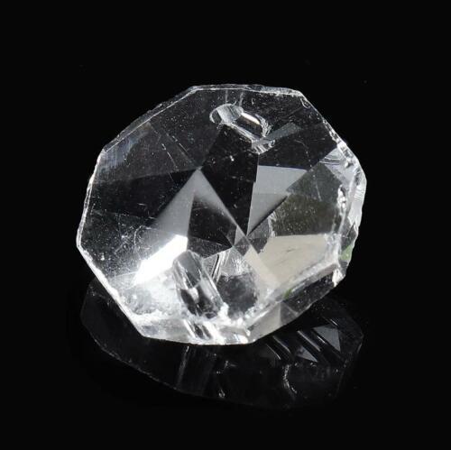 200PCS Clear Crystal Glass Chandelier Part Prisms Octagonal Beads Decor 14MM