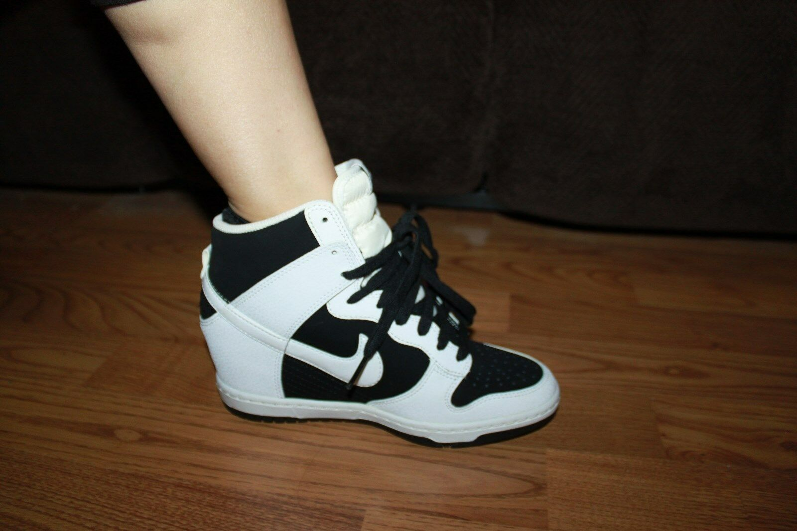 NIKE SKY HI BLACK WHITE WEDGE SNEAKERS SHOES WOMEN 5.5