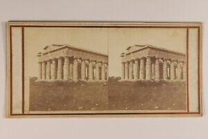 Italia-Paestum-Tempio-Greco-Archeologia-c1860-Foto-Stereo-Vintage-Albumina