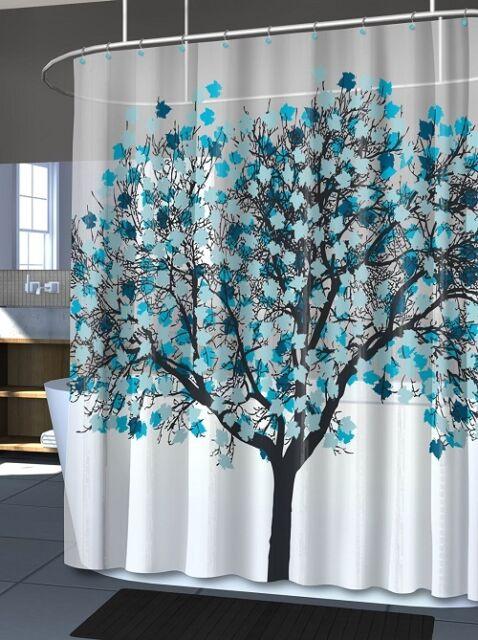 Blue Shower Curtain Tree Nature Bathroom Decor Modern Home Bath Hanging Art EVA