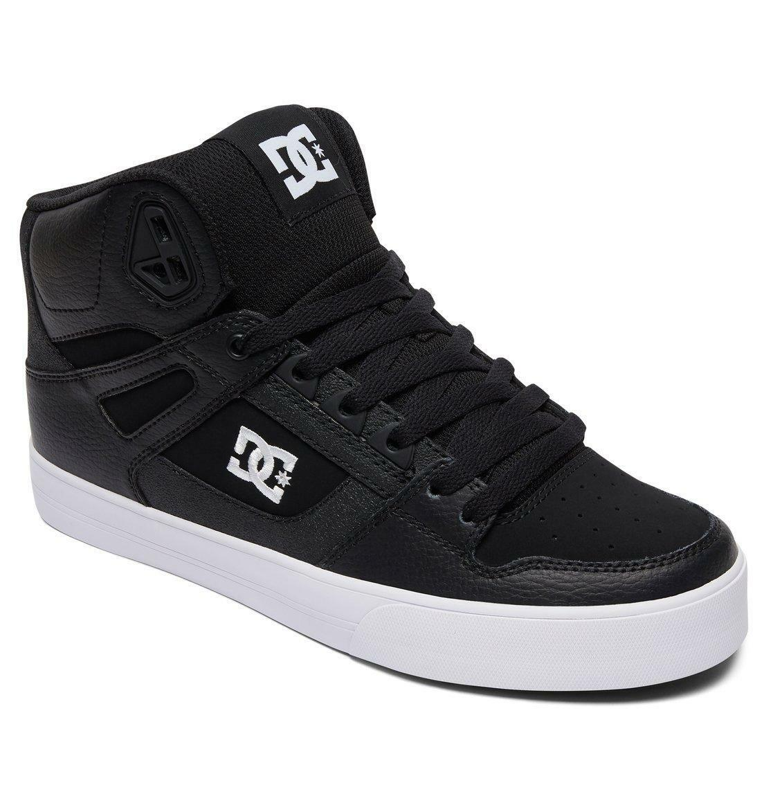 DC SHOES MENS HI TOP BOOTS.PURE REAL LEATHER HIGH SKATE TRAINERS SHOES 8S 43 BKW