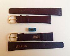 Bulova Cinturino Vintage Pelle 18 mm Marrone NOS Watch Band Water Resistant