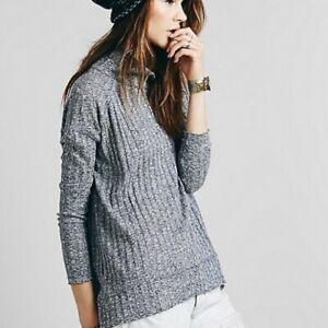 Free-People-Gray-Clarissa-Mock-Neck-Sweater-Large