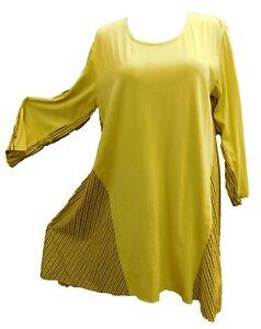 outlet store df57f 6ca4e Details zu Kleid Baumwollkleid 3/4 Arm Lagenlook gelb-schwarz Streifen Gr.  44-46 Italy