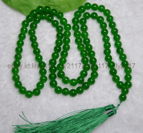 méditation BOUDDHISTE 108 Vert Jade prière perles Mala Collier Hindouisme