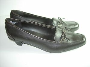 WOMENS-BROWN-LEATHER-LOAFERS-CAREER-COMFORT-HIGH-HEELS-SHOES-SIZE-6-5-M