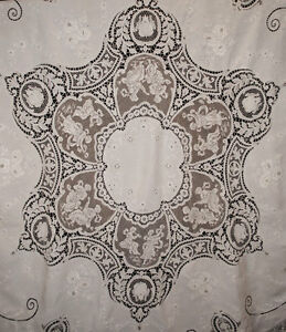 Image Is Loading ANTIQUE LACE LINEN TABLECLOTH ITALIAN  FILET MILANESE APPENZEL