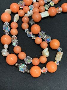 """Freshwater Pearl Crystal Aurora Borealis Beaded 2 Strand Coral Necklace 18"""""""