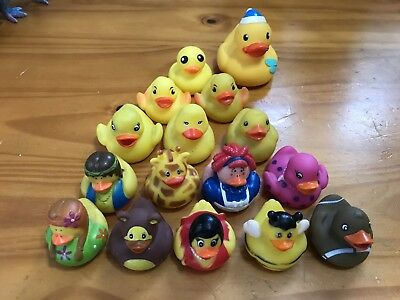 Lot of 16 Assorted Rubber Ducks Toys Small Rubber Duckies