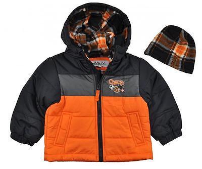 London Fog Infant Boys Orange Fleece Lined Coat W//Plaid Hat Size 24M $70