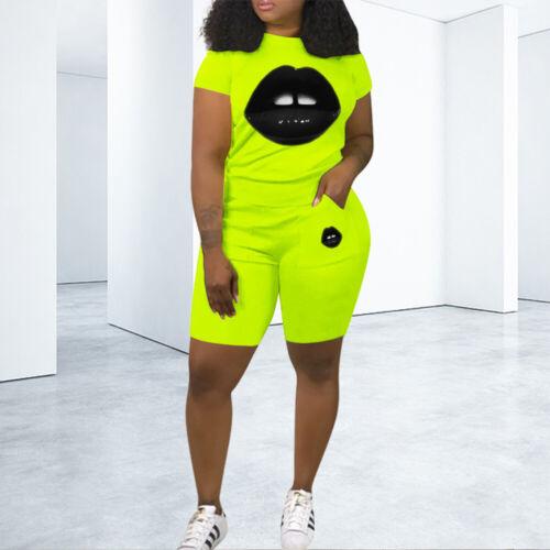Woman Suit Lips Printed Short Sleeve O Neck T-shirt+Pocket Shorts Pant S-2XL