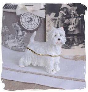 Kompetent Zierdose Hundefigur Terrier Deckeldose Weiss Pillendose Emaille Box ZuverläSsige Leistung