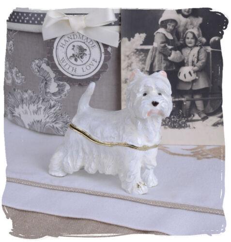 Zierdose Hundefigur Terrier Deckeldose Weiss Pillendose Emaille Box