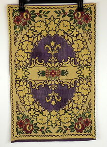 Vintage-Purple-amp-Gold-Tapestry-Made-In-France-16-034-X-25-5-034