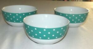 Isaac-Mizrahi-Ceramic-Teal-Green-Blue-Polka-Dot-THREE-5-5-8-in-Cereal-Bowls