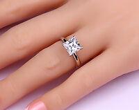 Engagement Ring Enhanced Solitaire Gold White 14k 2 Ct 1 Princess Cut Vs2 Size H
