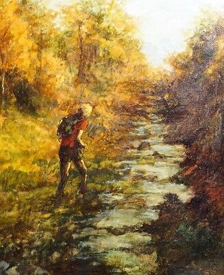 Cheap Price Oil Painting Hikers Am Stream Signed Nobos Gelungene Künstlerarbeit Agreeable To Taste Art