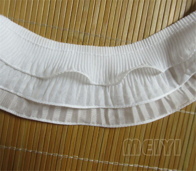 2Y Vintage Stretch 3-layer Gathered Lace Edge Trim Elastic Pleated Ruffle Ribbon