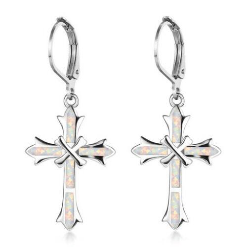 1 Paire Femme Argent 925 Bijoux Croix White Fire Opal Charme Boucle d/'oreille Pendentif ~~!