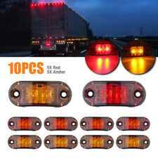 25 10pc Amber Red Led Car Truck Trailer Rv Oval Side Clearance Marker Lights