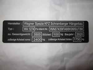 TYPENSCHILD ANHÄNGER MASCHINE PKW KFZ MOTORRAD graviert ALU Metall 148 X 38mm