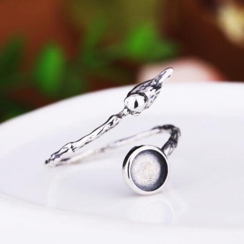 """Anillo de plata esterlina 925 en blanco/""""Pájaro en Rama/'6mm ajusteAjustable"""