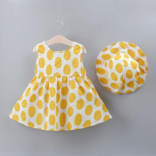 UK Newborn Kid Baby Girl Dot Printed Bow Princess Dress+Hat Outfits 2PCS//Set