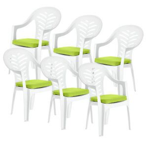 6 Pack of Lime Cushion Pads for Resol Palma / Cool Plastic Garden Chairs