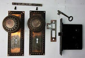 Antique-VICTORIAN-Tiger-Copper-Japanned-Backplates-Door-Knobs-Mortise-Lock-Key