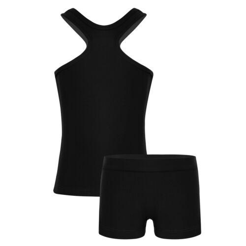 Girls Sport Dance Outfit 2PCS Gymnastics Ballet Crop Tops+Bottoms Set Dancewear