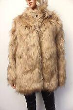 Asos Beige VIntage Style Faux Fur Luxurious Dress Jacket Coat Size 14 42 US 10