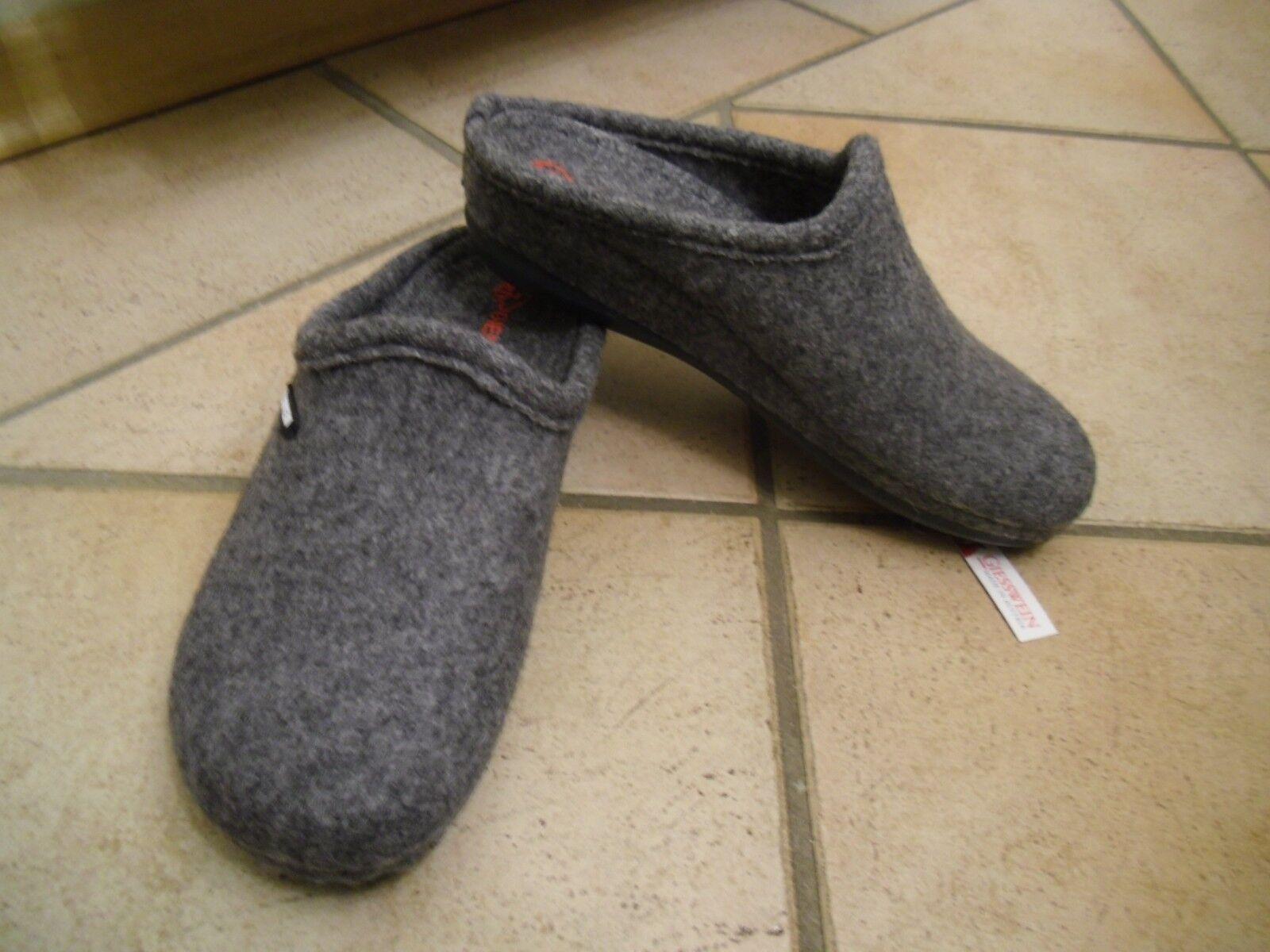 Neue graue original GIESSWEIN Hausschuhe gewalkte Wolle   Komfortsohle  Gr. 40