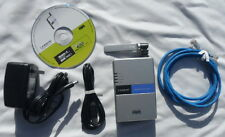 Linksys WPS54G wireless & wired USB print server complete with setup CD & cables
