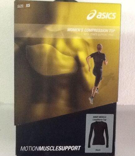 manica Compressione taglia Asics Womens Nero Xs Muscle Nuovo Top Inner 887749350579 lunga d00wrx