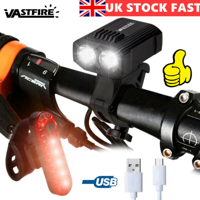 Rechargeable 15000LM XM-L T6 LED MTB Bicycle Lights Bike Front+Rear Headlight UK