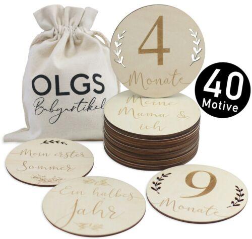 Stoffbeutel für Ihr Baby Meilensteinkarten 20 Teilen-SET 40 Holz Meilensteine
