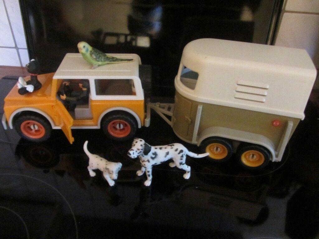Schleich - Jeep Jeep Jeep Geländewagen + Anhänger + Hunde Dalmatiner Katze Wellensittich da6adb
