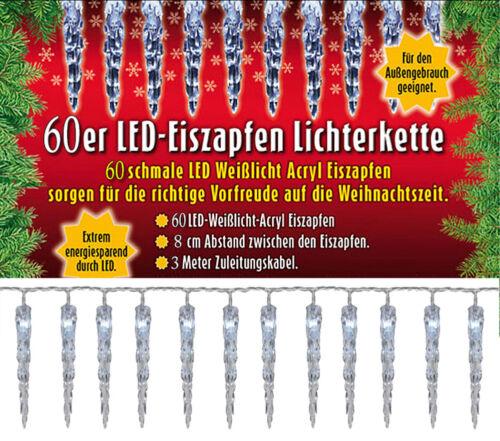 40//60er LED Acryl Eiszapfenlichterkette,Innen /& Außen!Erweiterbar,Lichterkette