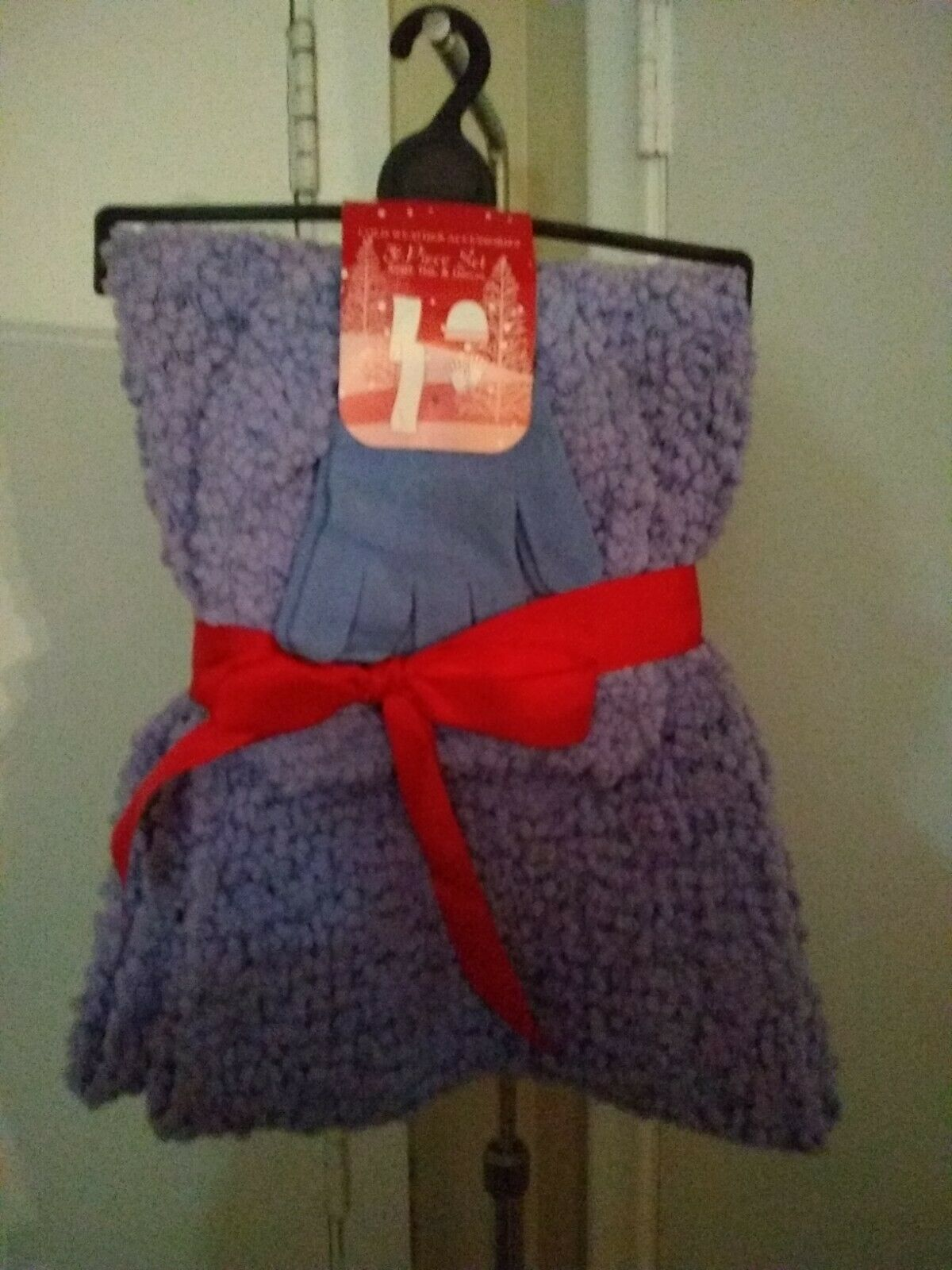 Ladies Boucle Knit Infinity Scarf, Hat, and Glove Set - Periwinkle