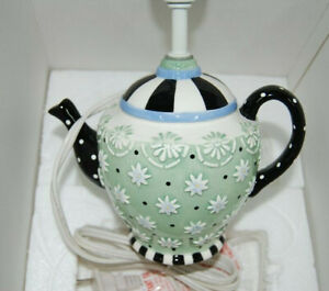 NIB-Vintage-Mary-Engelbreit-Tea-Pot-Teapot-Table-Lamp-Tea-Time-Floral-1998