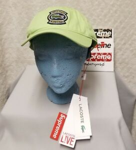 b9ac54fd Supreme X Lacoste SS18 100% Authentic Twill 6 Panel Ball Cap Lime ...