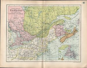 Details about 1903 MAP ~ CANADA EASTERN POVINCES NORTH-EASTERN UNITED  STATES NOVA SCOTIA